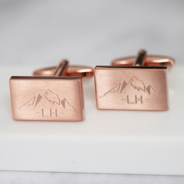 Personalised Engraved Mountain And Initial Cufflinks