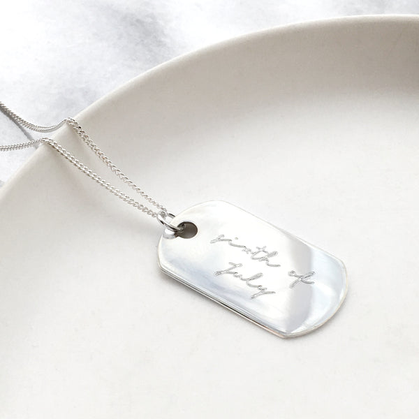 Sterling Mini Dog Tag Written Date Necklace