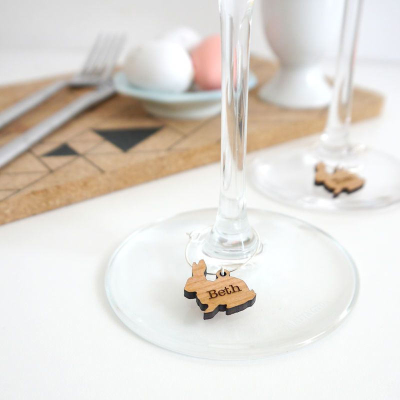 Personalised wooden wine glass charms
