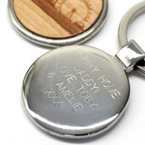 Wooden London Skyline Keyring