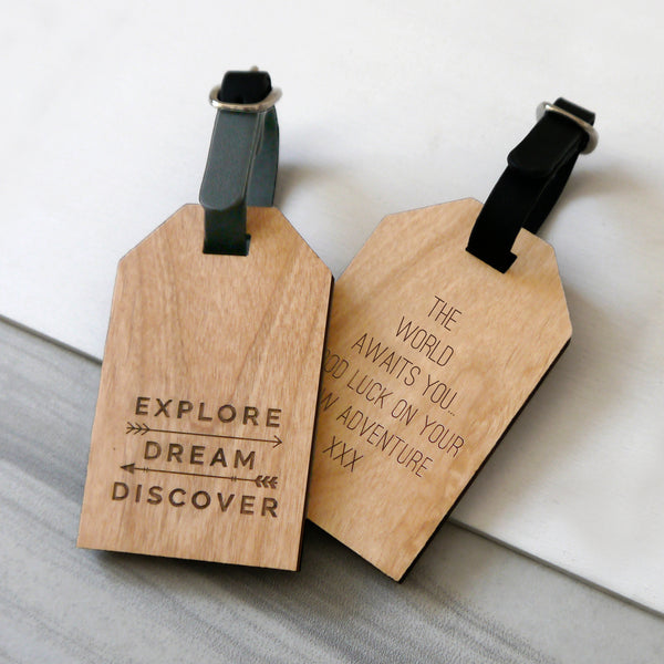 Personalised Explore Luggage Tag
