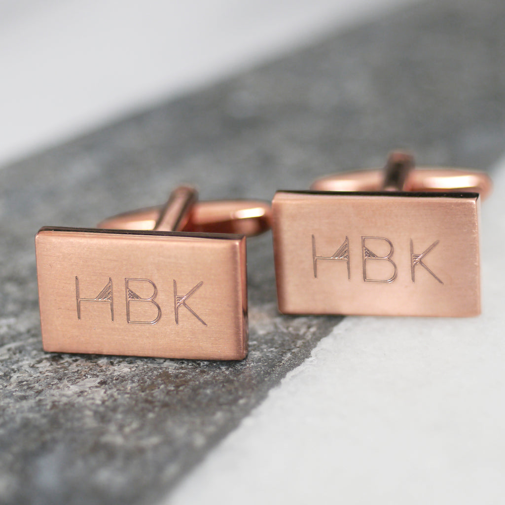 Personalised Engraved Geometric Initials Cufflinks