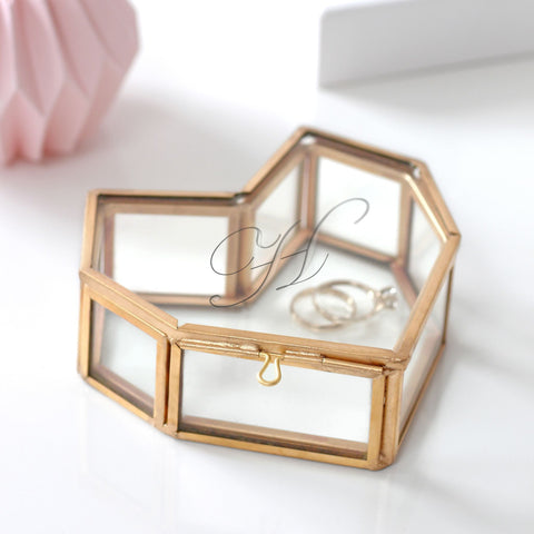 Personalised Mini Glass Heart Box - Seconds