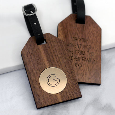 Personalised Walnut Geometric Initial Luggage Tag