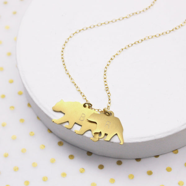 Personalised Mama And Baby Bear Silhouette Necklace