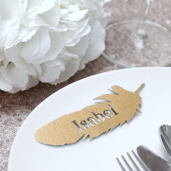 Set Of 10 Laser Cut Feather Place Names