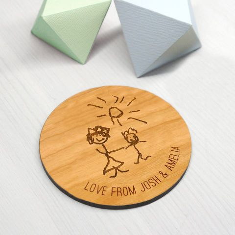 Personalised Wooden Child's Drawing Coaster