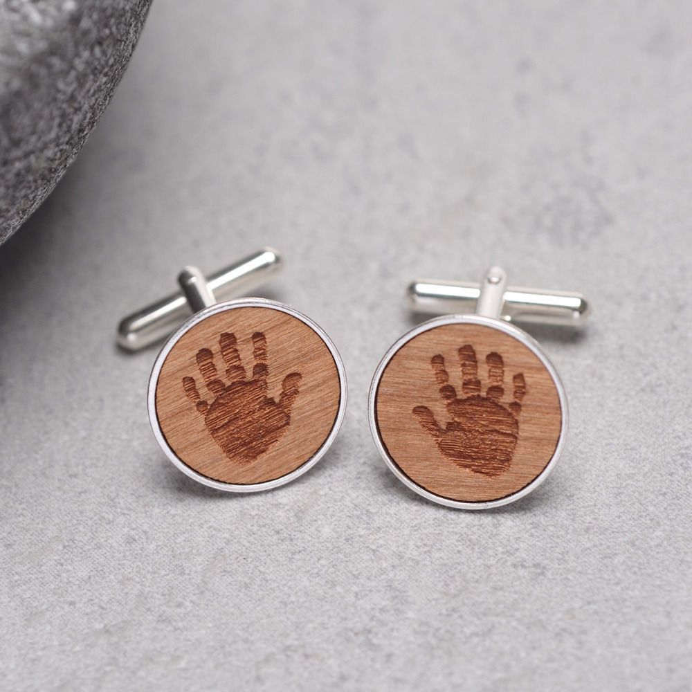 Wooden cufflinks with handprint