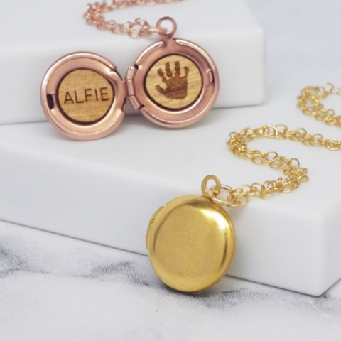 Personalised Handprint Mini Round Locket Necklace