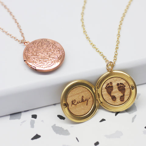 Personalised Footprint Round Locket Necklace