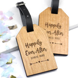 Set Of Two Personalised Wooden Happily Ever After Luggage Tags