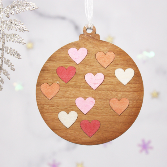 Set of 3 Heart Inlay Wooden Baubles