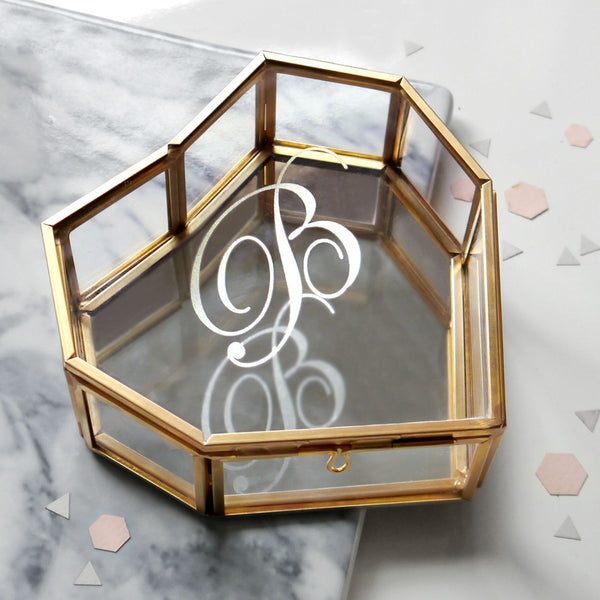 Geometric heart shaped glass keepsake box