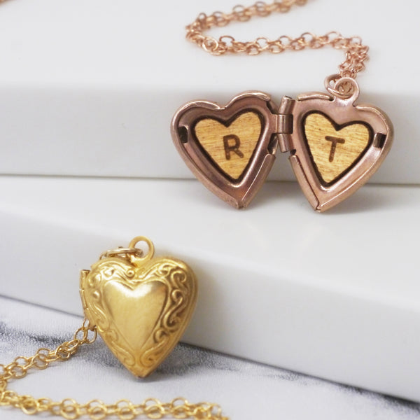 Personalised Initials Mini Heart Locket Necklace
