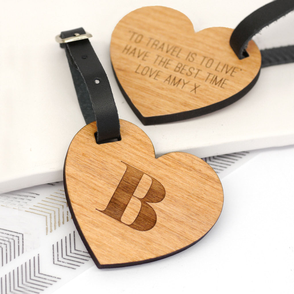 Personalised Wooden Heart Luggage Tag With Initial