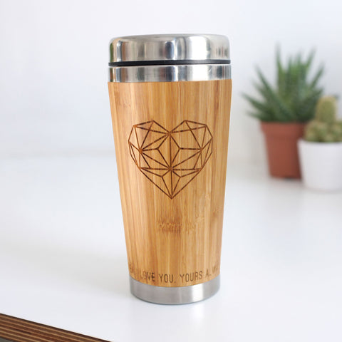 Personalised Wooden Geometric Heart Travel Mug