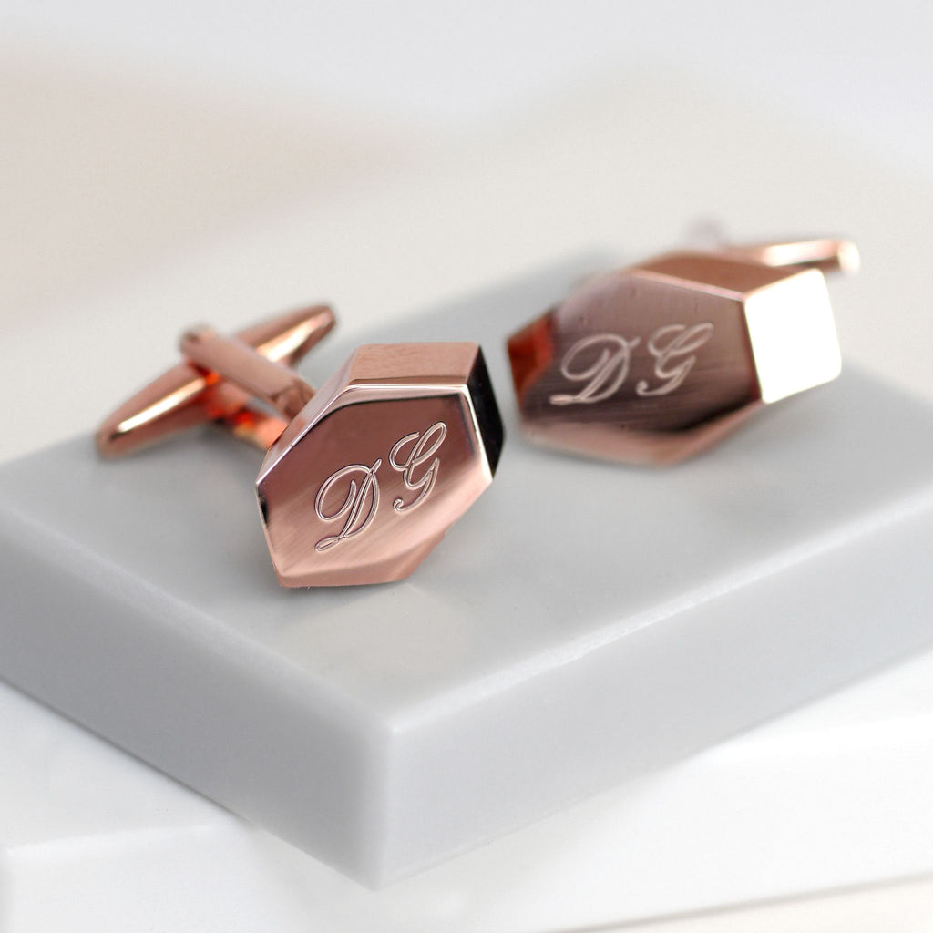 Rose Gold Geometric Cufflinks