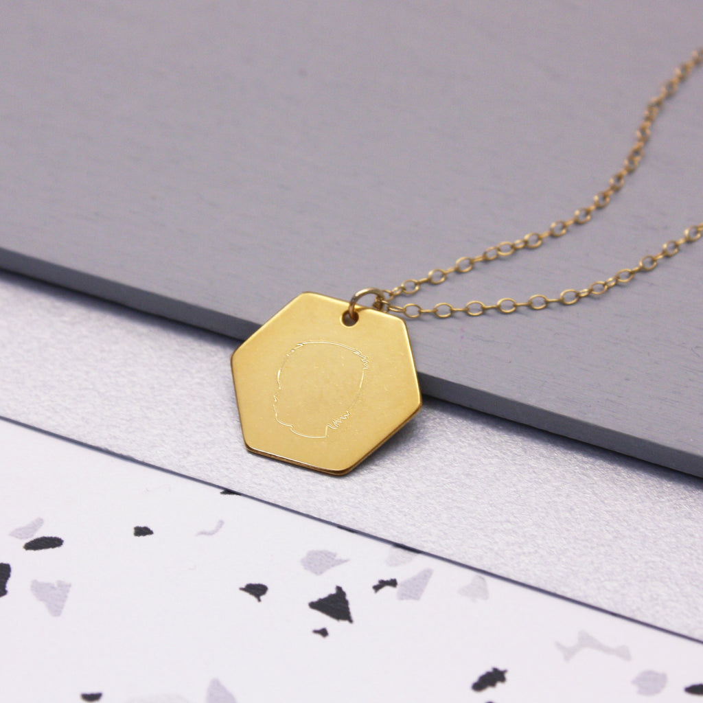 Personalised Hexagon Portrait Necklace