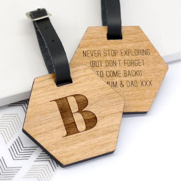 Personalised Wooden Hexagon Luggage Tag With Initial