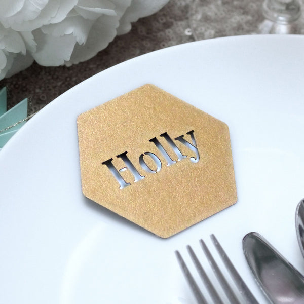 Set Of 10 Laser Cut Hexagon Place Names