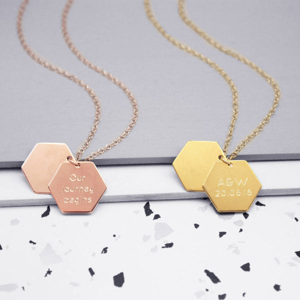 Personalised Hidden Message Hexagon Necklace