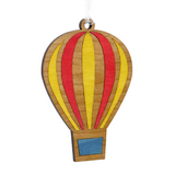 Set Of 2 Hot Air Balloon Inlay Wooden Baubles