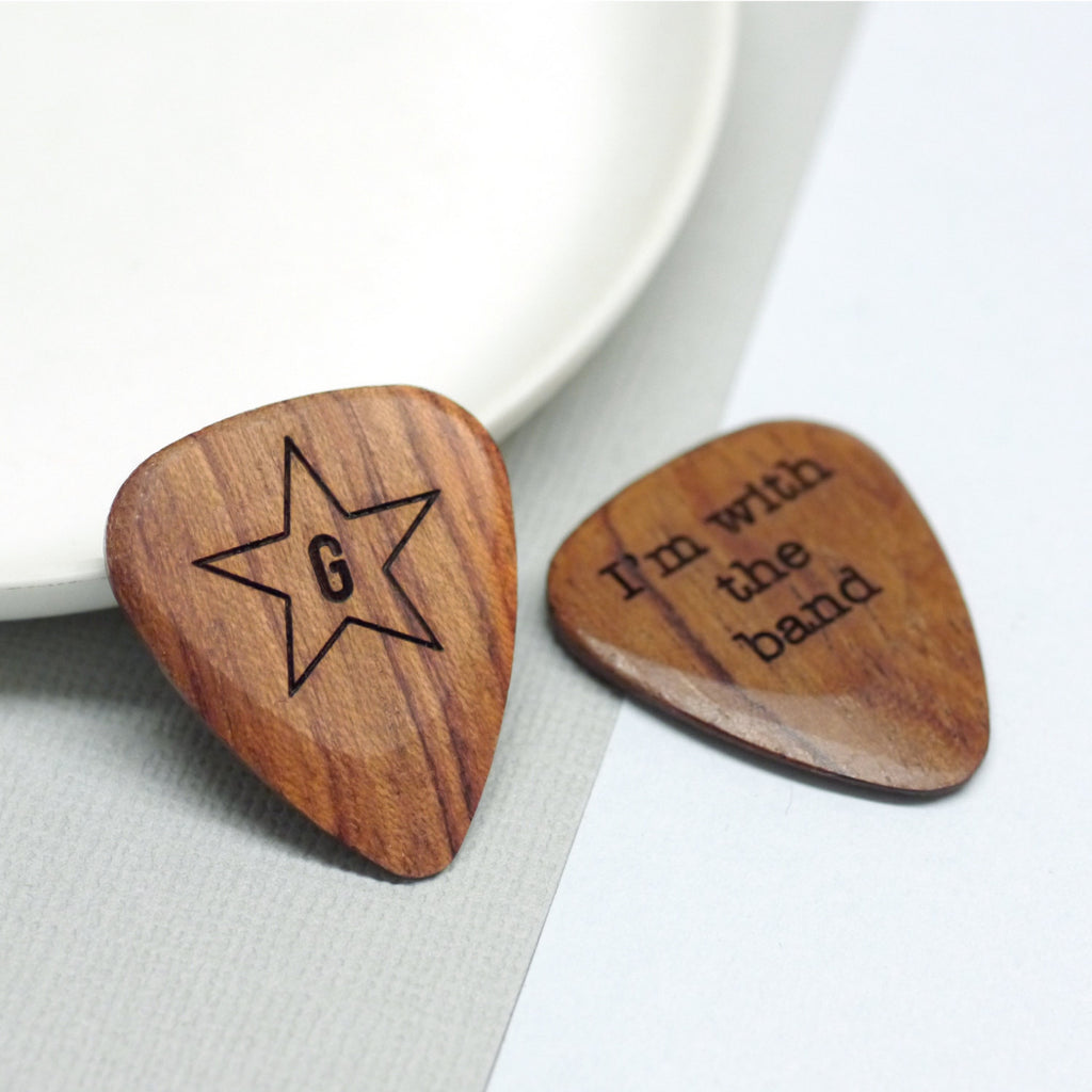 Personalised Wooden Star and Initial Plectrum