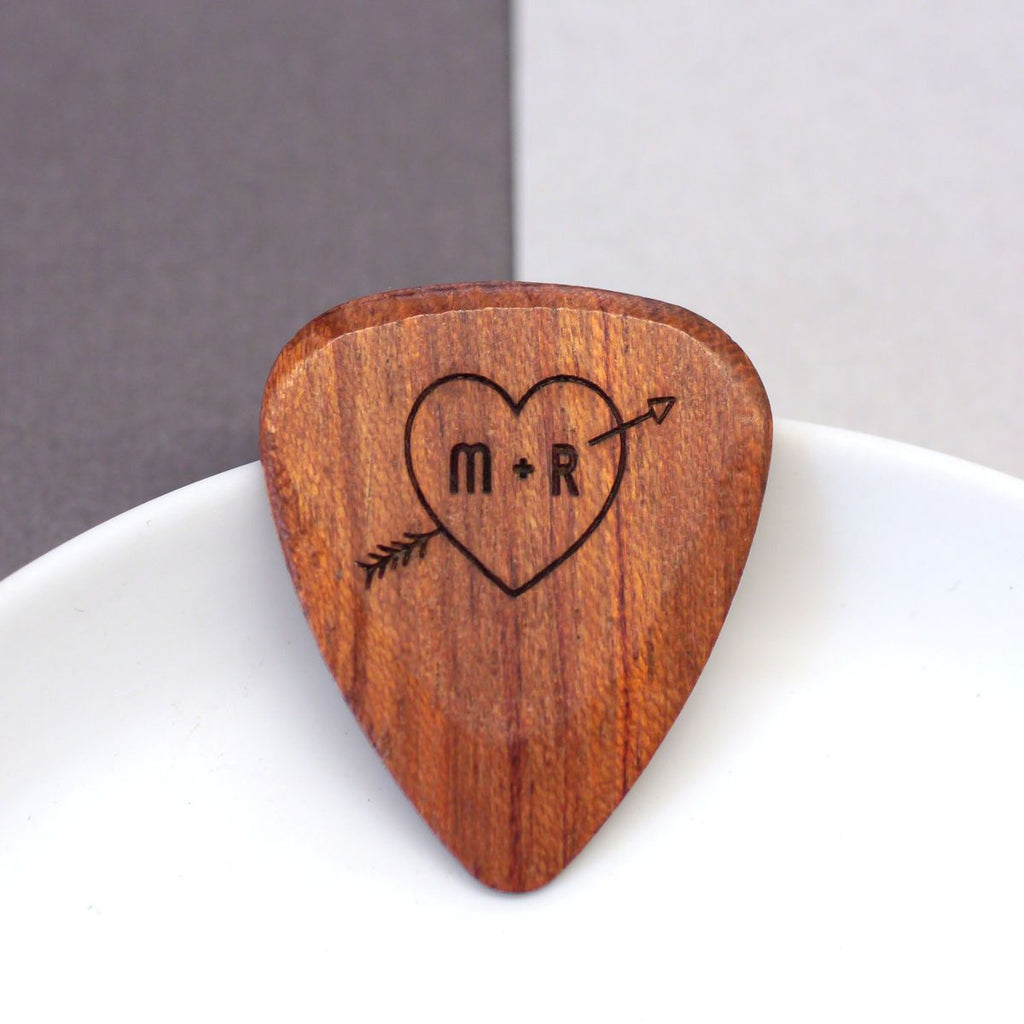 wooden plectrum with personalised initials