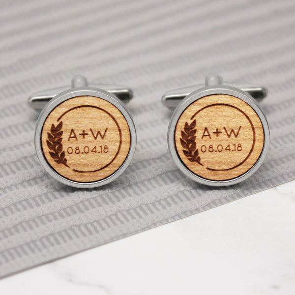 Personalised Leaf And Initials Cufflinks