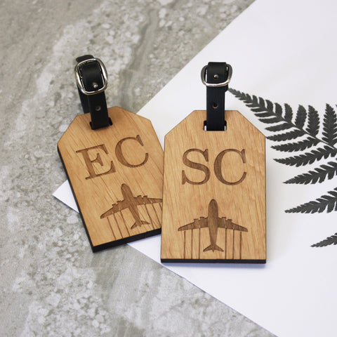 Pair of Wooden Initial Luggage Tags