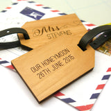 Personalised messages on back of Mr & Mrs luggage tags