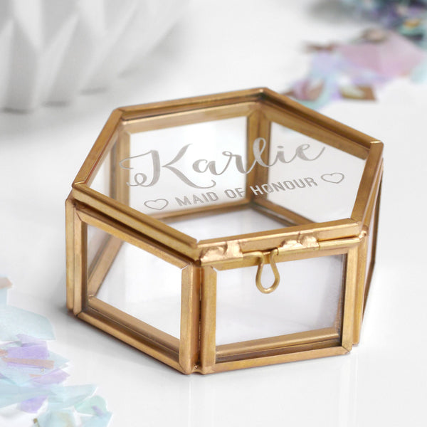 Personalised Mini Glass Maid Of Honour Jewellery Box