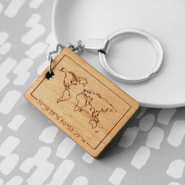 Personalised Map And Coordinates Keyring