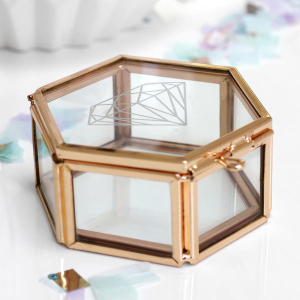 Personalised Mini Glass Hexagon Box With Diamond