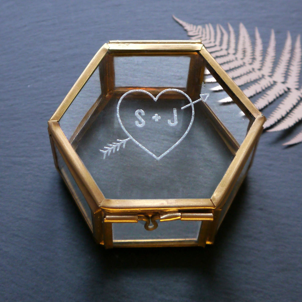 Glass Jewellery keepsake box with love heart and initials