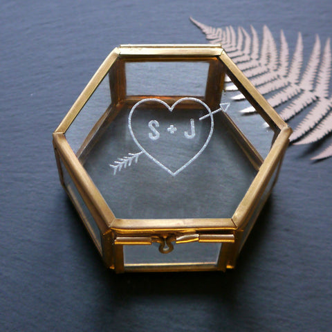 Mini Glass Jewellery Box With Heart And Initial - Seconds