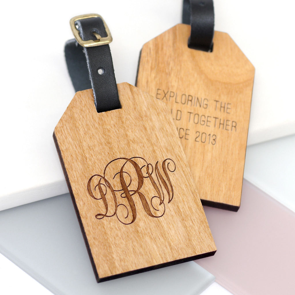 Wooden luggage tag with monogram initials