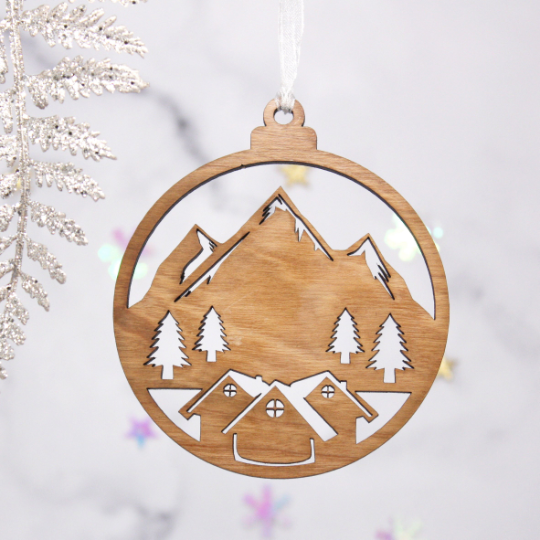 Set Of 4 Mountain Lodge Wooden Baubles