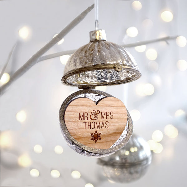 Personalised Mr and Mrs Glass bauble