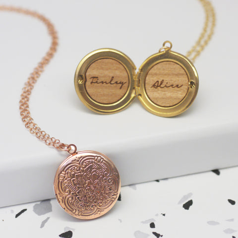 Personalised Names Round Locket Necklace