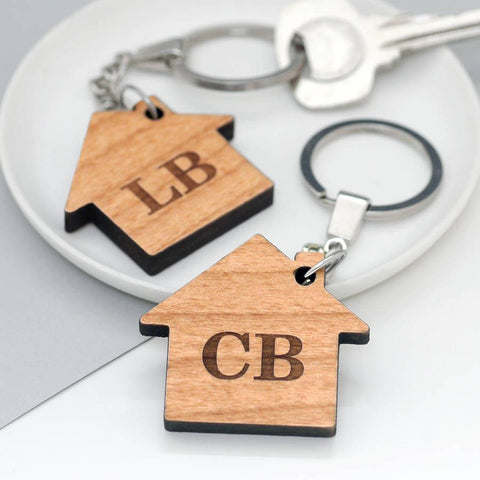 Set Of Two Personalised New Home Keyrings