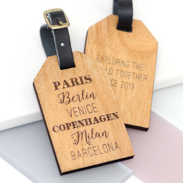 Personalised favourite places luggage tag