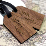 Set Of Two Personalised Wooden Honeymoon Luggage Tags