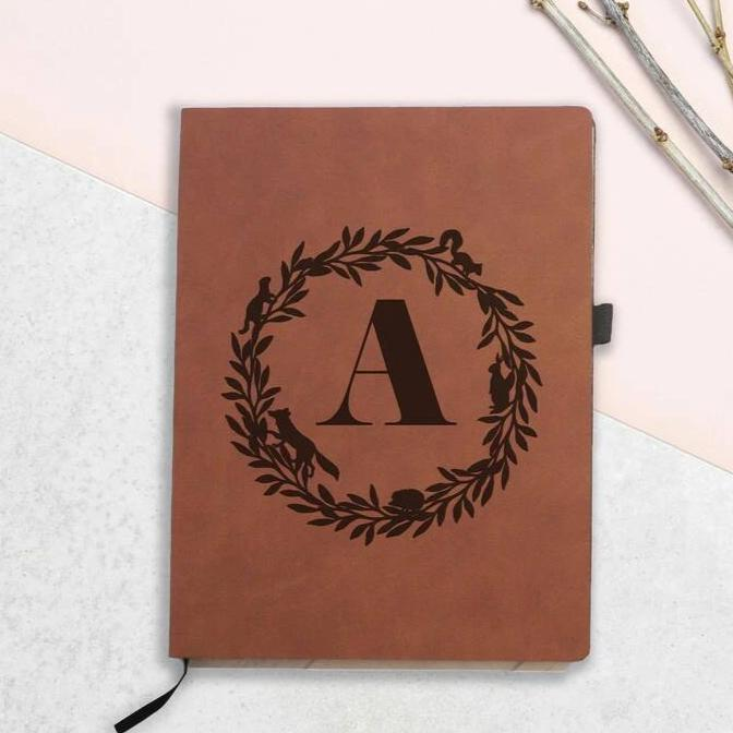 Personalised Woodland Wreath Initial Notebook