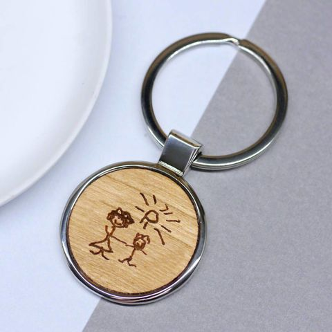 Wooden keyring with etched illustration of your own