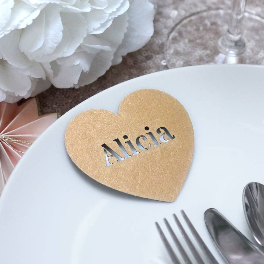 Set Of 10 Laser Cut Heart Place Names