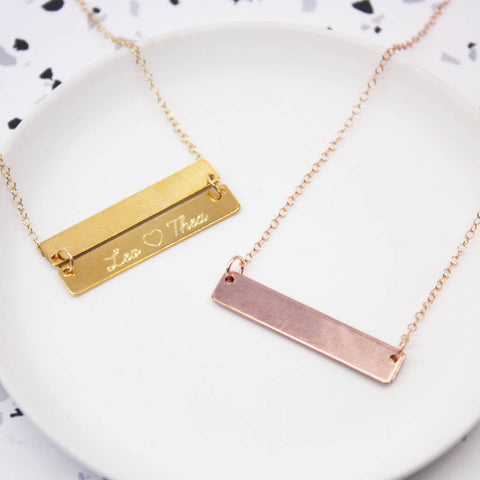 Personalised Hidden Message Bar Necklace
