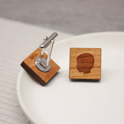Personalised Portrait Wooden Cufflinks