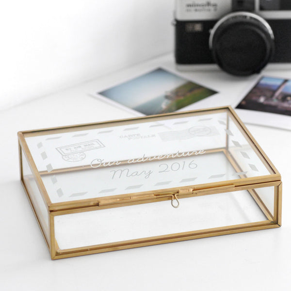 Personalised Glass Postcard Rectangular Keepsake Box