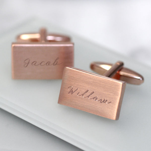 Personalised Rose Gold Name Cufflinks